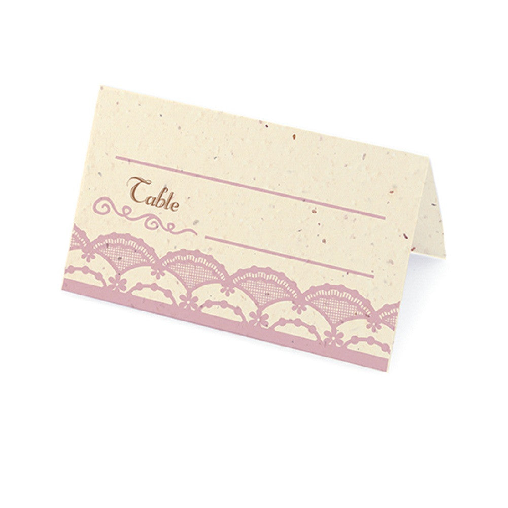 Rustic Lace Plantable Place Cards with Wildflower Seed Blend - Lavender - Sophie's Favors and Gifts