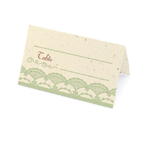 Rustic Lace Plantable Place Cards with Wildflower Seed Blend - Mint - Sophie's Favors and Gifts