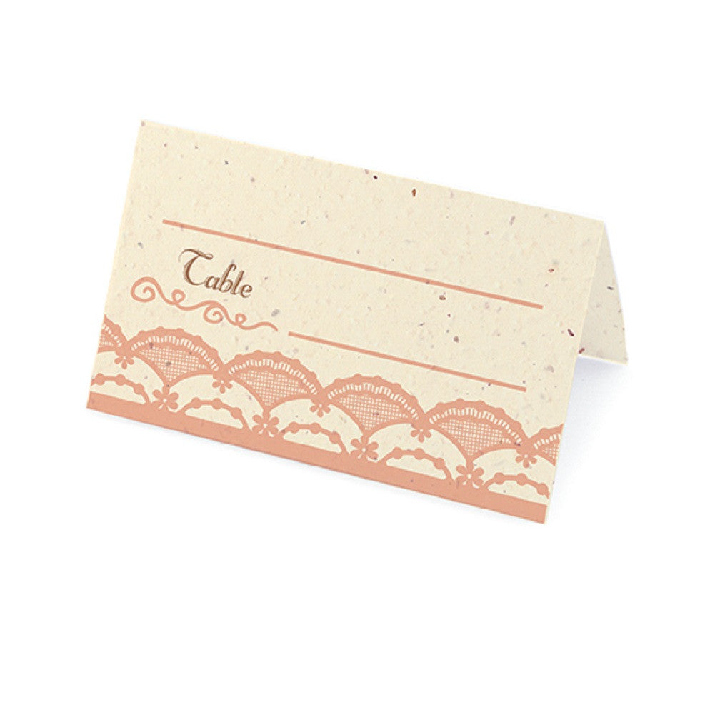 Rustic Lace Plantable Place Cards with Wildflower Seed Blend - Rose - Sophie's Favors and Gifts