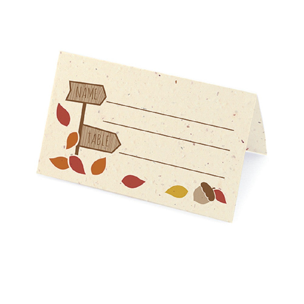 Rustic Tree Plantable Place Card with Wildflower Seed Blend - Autumn Palette - Sophie's Favors and Gifts