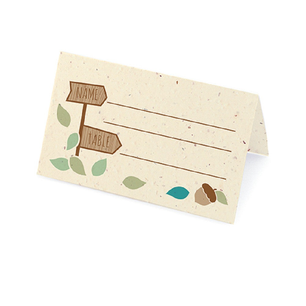 Rustic Tree Plantable Place Card with Wildflower Seed Blend - Winter Palette - Sophie's Favors and Gifts