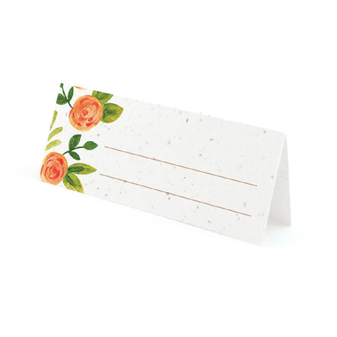 Watercolor Roses Plantable Place Cards with Wildflower Seed Blend - Nectarine - Sophie's Favors and Gifts