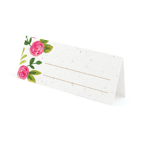 Watercolor Roses Plantable Place Cards with Wildflower Seed Blend - Pink - Sophie's Favors and Gifts