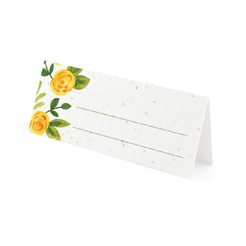 Watercolor Roses Plantable Place Cards with Wildflower Seed Blend - Yellow - Sophie's Favors and Gifts