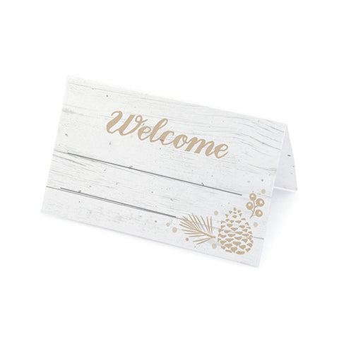 Winter Wonderland Plantable Place Cards - Latte, rustic place cards, winter place cards, winter placecards, tan place cards, Eco-Friendly Favors