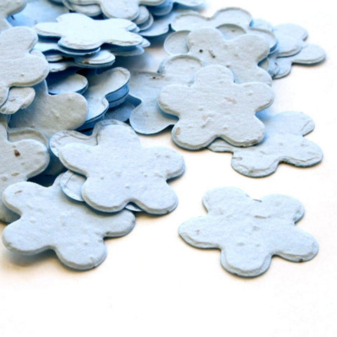 Five Petal Plantable Seed Confetti in Blue, blue wedding favors, plantable wedding favors, seed favors, plantable seed confetti, Eco-Friendly Favors