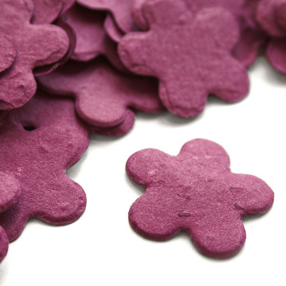 Five Petal Plantable Seed Confetti in Berry Purple, maroon wedding favors, plantable wedding favors, seed favors, plantable seed confetti, Eco-Friendly Favors
