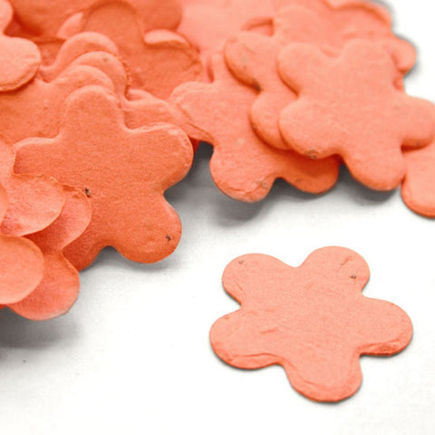 Five Petal Plantable Seed Confetti in Coral Value Pack (two 350 piece bags = 700 pieces of seed confetti), orange wedding favors, plantable wedding favors, seed favors, plantable seed confetti, Eco-Friendly Favors