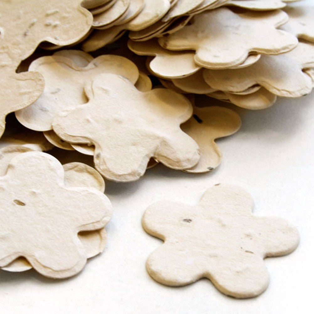 Five Petal Plantable Seed Confetti in Cream, cream wedding favors, ivory wedding favors, seed favors, plantable seed confetti, Eco-Friendly Favors