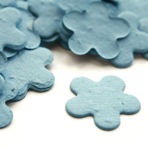 Five Petal Plantable Seed Confetti in Cornflower Blue, blue wedding favors, plantable party favors, seed favors, plantable seed confetti, Eco-Friendly Favors