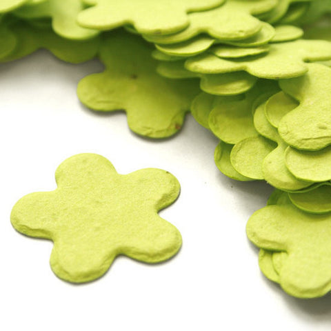 Five Petal Plantable Seed Confetti in Lime Green, green wedding favors, spring wedding favors, seed favors, plantable seed confetti, Eco-Friendly Favors