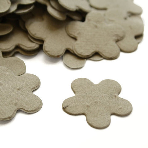 Five Petal Plantable Seed Confetti in Stone Grey, grey wedding favors, gray wedding favors, seed favors, plantable seed confetti, Eco-Friendly Favors