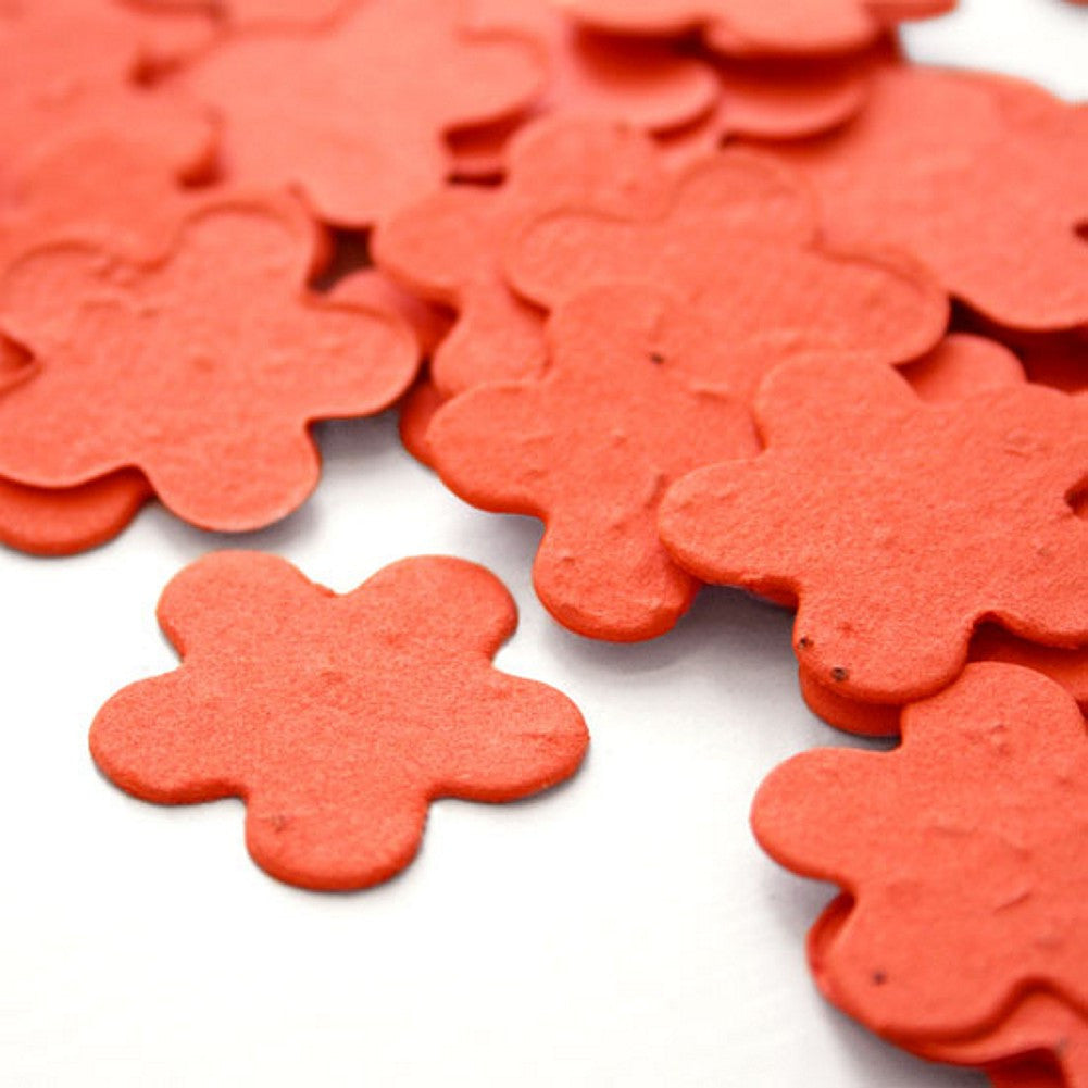 Five Petal Plantable Seed Confetti in Tangerine, orange wedding favors, fall wedding favors, seed favors, plantable seed confetti, Eco-Friendly Favors