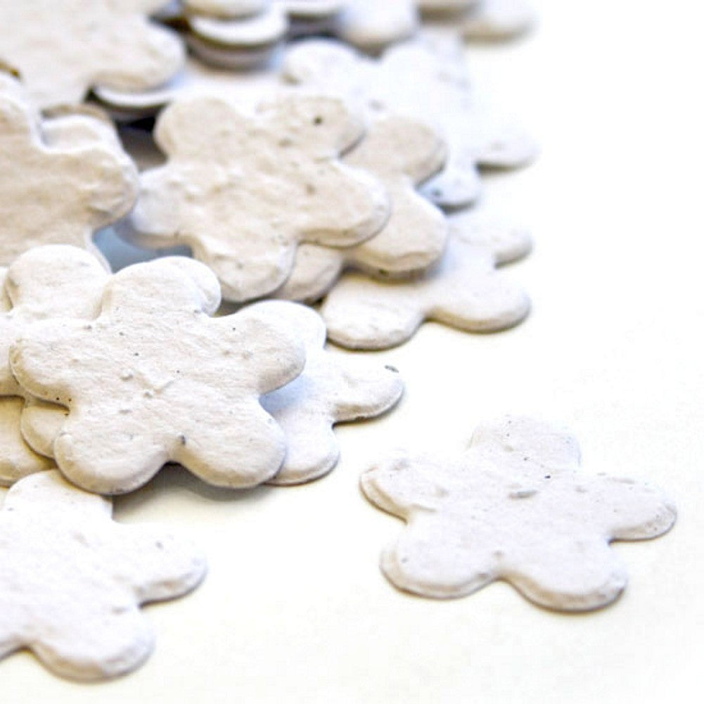 Five Petal Plantable Seed Confetti in White, white wedding favors, plantable wedding favors, seed favors, plantable seed confetti, Eco-Friendly Favors