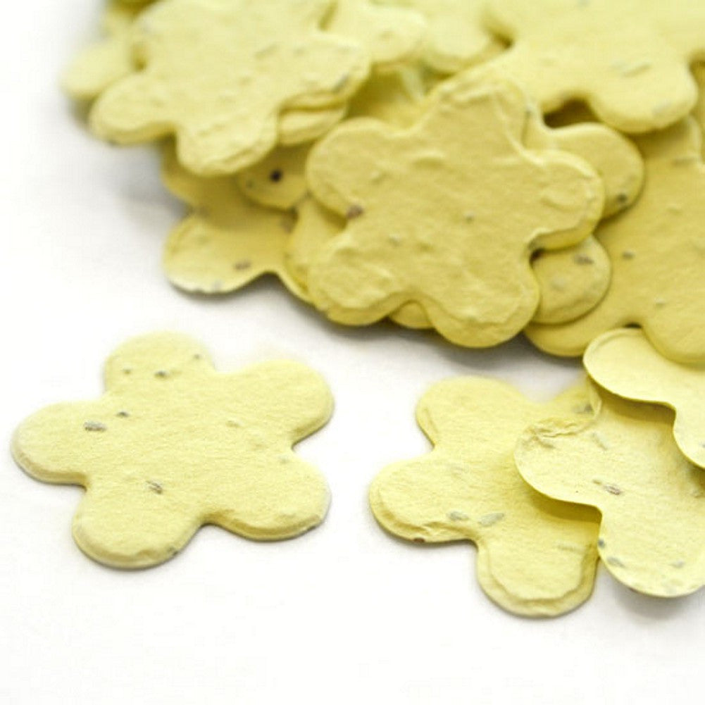 Five Petal Plantable Seed Confetti in Yellow, yellow wedding favors, yellow theme, seed favors, plantable seed confetti, Eco-Friendly Favors