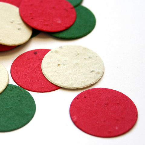 Christmas Circle Plantable Seed Confetti, holiday party favors, christmas party favors, seed favors, plantable seed confetti, Eco-Friendly Favors