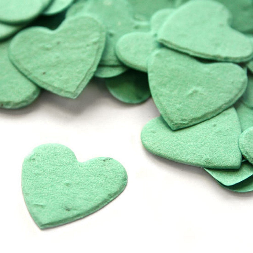 Heart Shaped Plantable Seed Confetti in Aqua, aqua wedding favors, heart shaped wedding favors, seed favors, plantable seed confetti, Eco-Friendly Favors