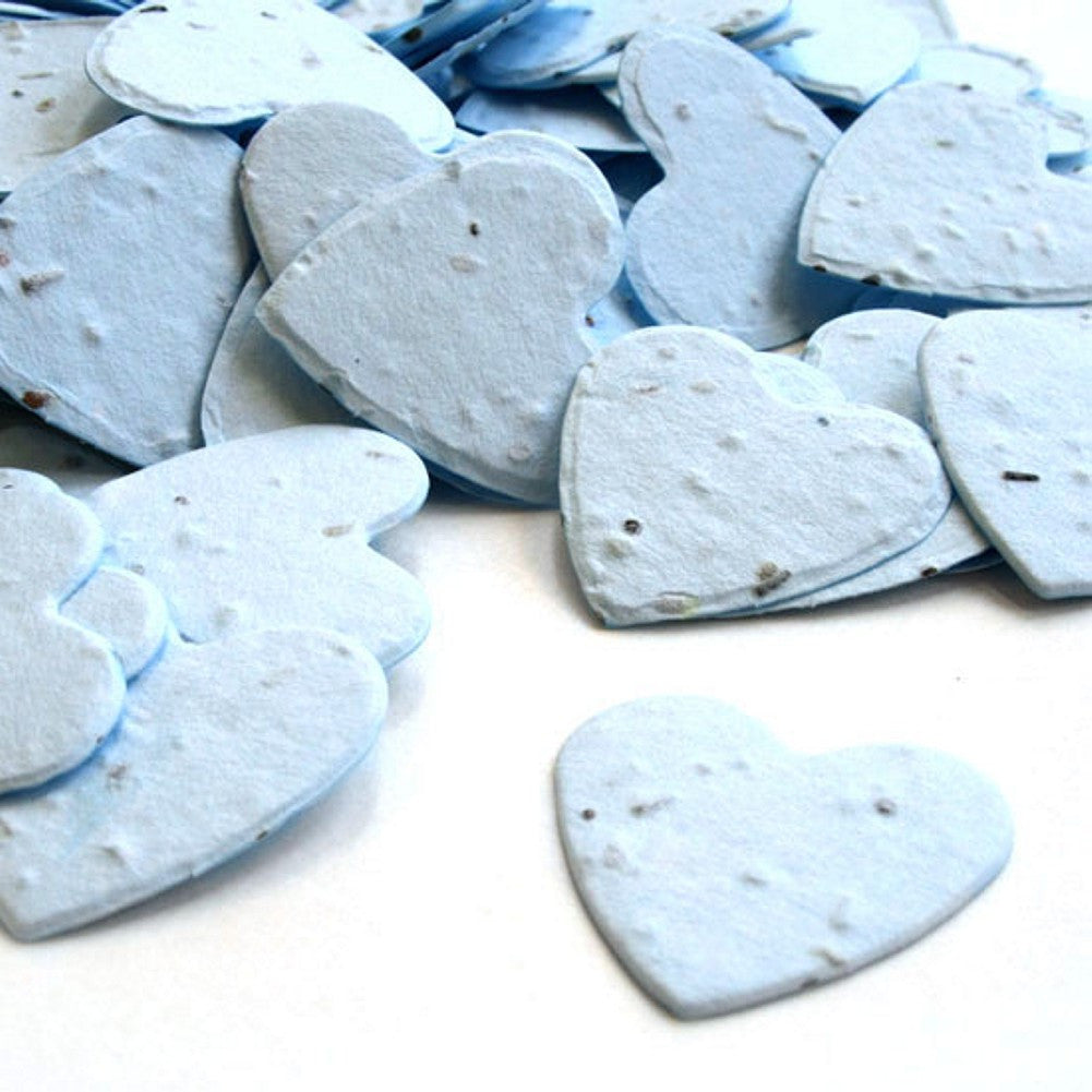 Heart Shaped Plantable Seed Confetti in Blue, blue wedding favors, heart shaped wedding favors, seed favors, plantable seed confetti, Eco-Friendly Favors