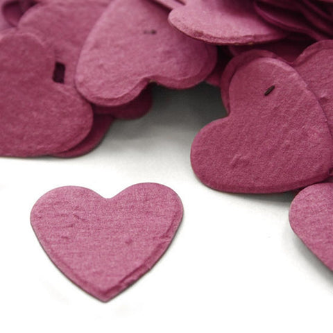 Heart Shaped Plantable Seed Confetti in Berry Purple, purple wedding favors, heart shaped wedding favors, seed favors, plantable seed confetti, Eco-Friendly Favors