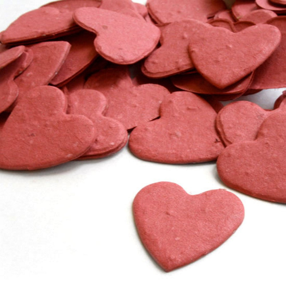 Heart Shaped Plantable Seed Confetti in Brick Red - Sophie's Favors and Gifts