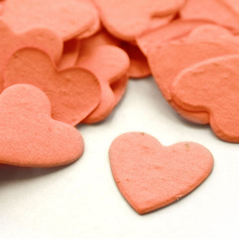 Heart Shaped Plantable Seed Confetti in Coral, orange wedding favors, heart shaped wedding favors, seed favors, plantable seed confetti, Eco-Friendly Favors