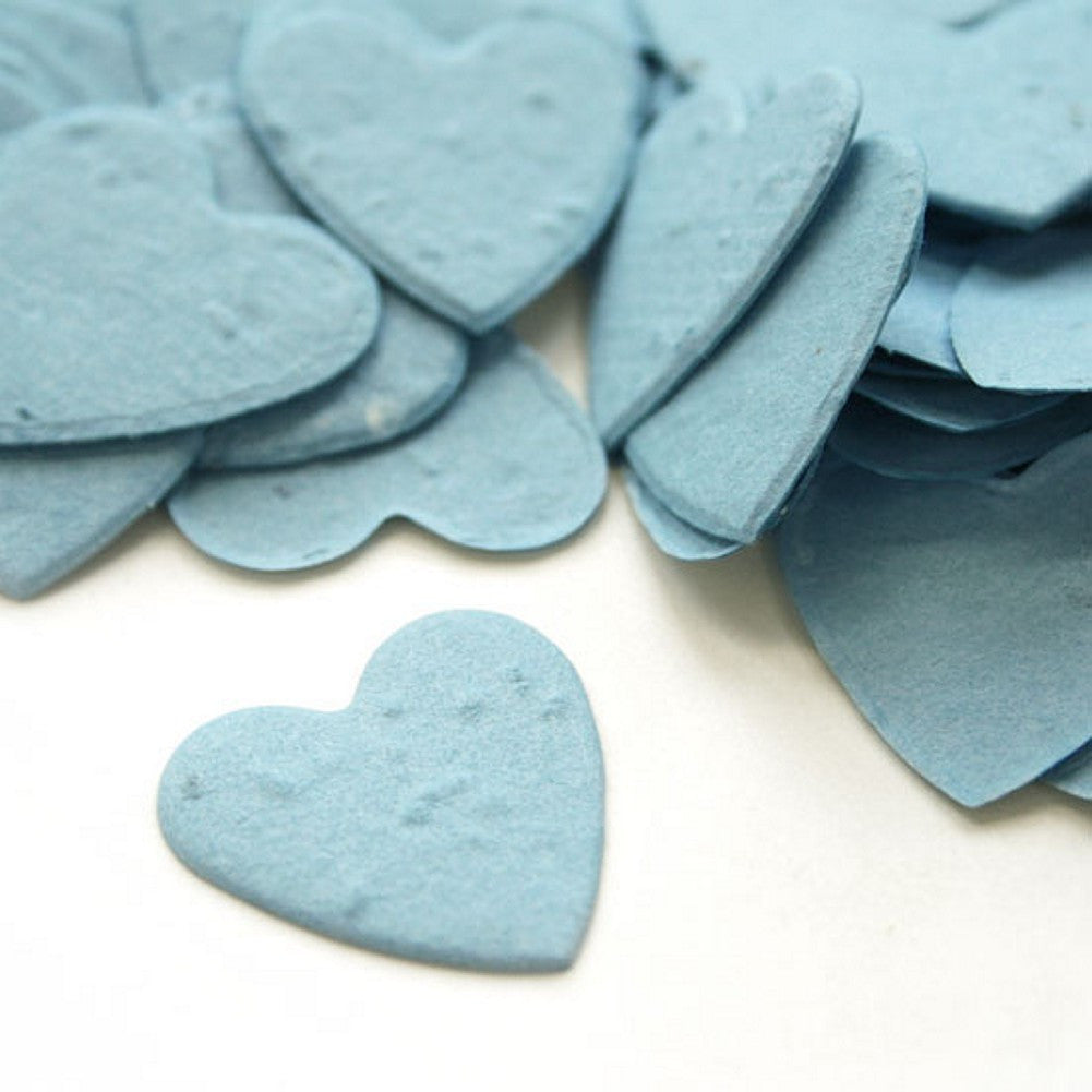 Heart Shaped Plantable Seed Confetti in Cornflower Blue, blue wedding favors, heart shaped wedding favors, seed favors, plantable seed confetti, Eco-Friendly Favors