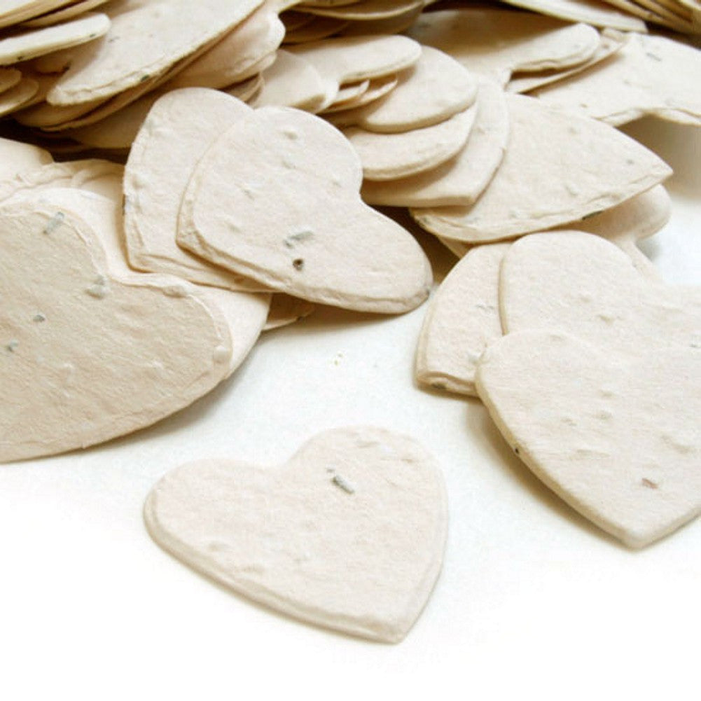 Heart Shaped Plantable Seed Confetti in Cream, cream wedding favors, heart shaped wedding favors, seed favors, plantable seed confetti, Eco-Friendly Favors