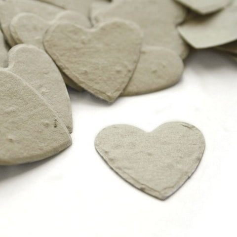 Heart Shaped Plantable Seed Confetti in Dove Grey, grey wedding favors, heart shaped wedding favors, seed favors, plantable seed confetti, Eco-Friendly Favors