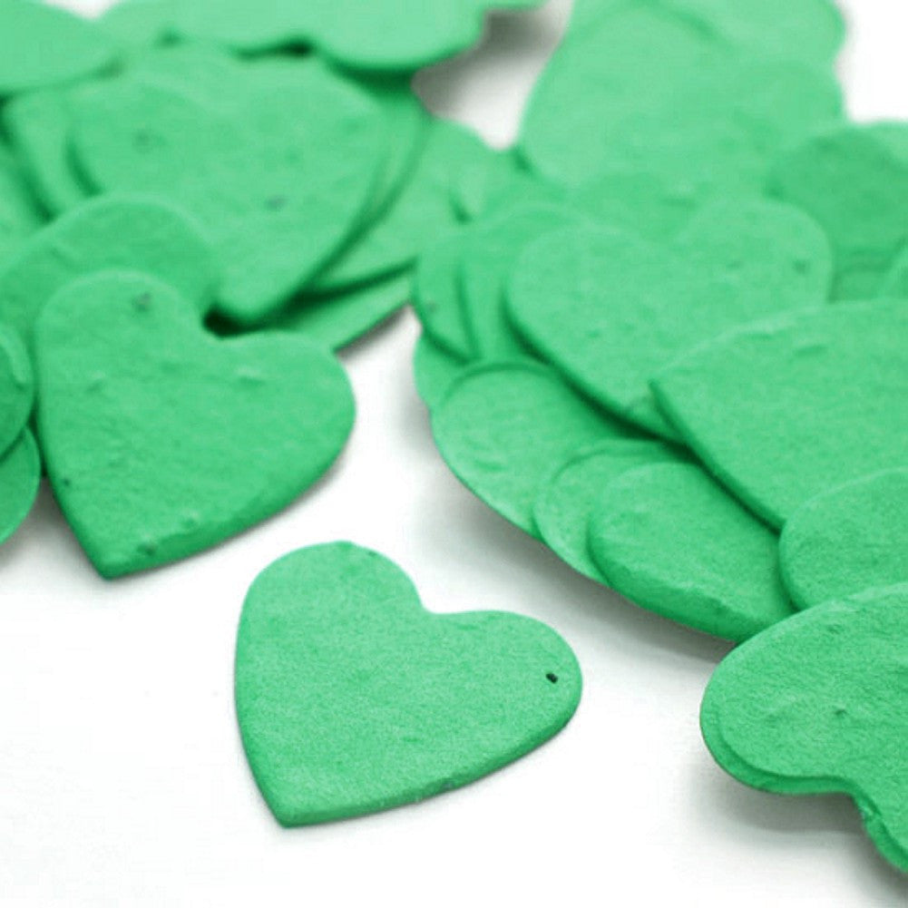 Heart Shaped Plantable Seed Confetti in Emerald Green, green wedding favors, heart shaped wedding favors, seed favors, plantable seed confetti, Eco-Friendly Favors