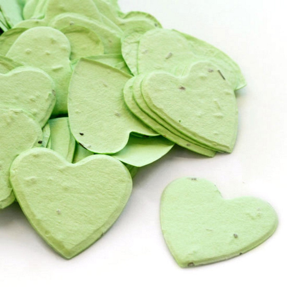 Heart Shaped Plantable Seed Confetti in Green, green wedding favors, heart shaped wedding favors, seed favors, plantable seed confetti, Eco-Friendly Favors