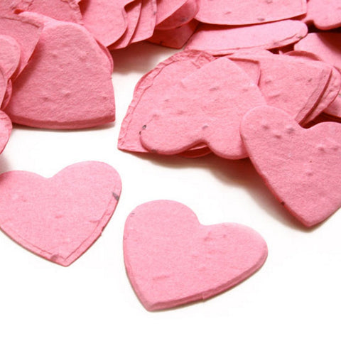 Heart Shaped Plantable Seed Confetti in Hot Pink, hot pink wedding favors, heart shaped wedding favors, seed favors, plantable seed confetti, Eco-Friendly Favors