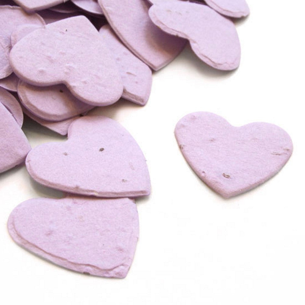Heart Shaped Plantable Seed Confetti in Lavender, lavender wedding favors, heart shaped wedding favors, seed favors, plantable seed confetti, Eco-Friendly Favors