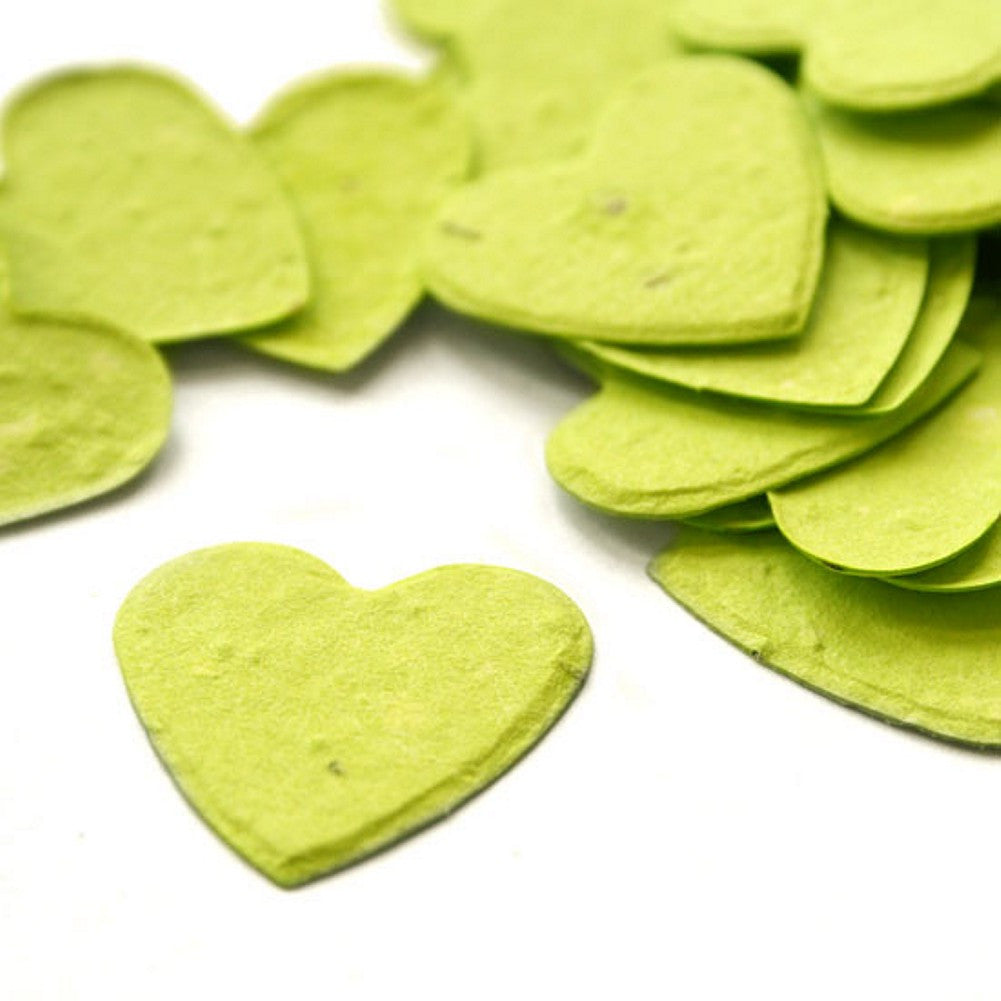 Heart Shaped Plantable Seed Confetti in Lime Green, green wedding favors, heart shaped wedding favors, seed favors, plantable seed confetti, Eco-Friendly Favors