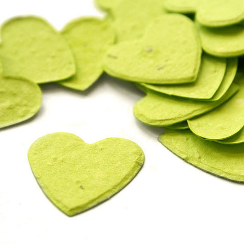 Heart Shaped Plantable Seed Confetti in Lime Green - Sophie's Favors and Gifts