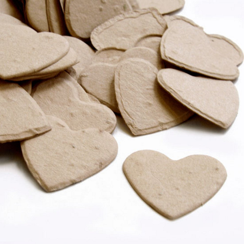 Heart Shaped Plantable Seed Confetti in Latte Brown, taupe wedding favors, heart shaped wedding favors, seed favors, plantable seed confetti, Eco-Friendly Favors