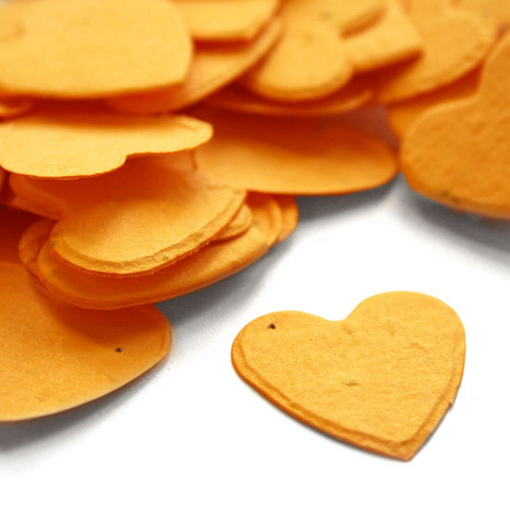 Heart Shaped Plantable Seed Confetti in Marigold Yellow, yellow wedding favors, heart shaped wedding favors, seed favors, plantable seed confetti, Eco-Friendly Favors