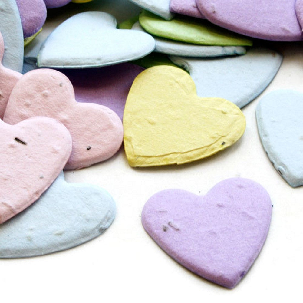 Heart Shaped Plantable Seed Confetti (Multicolored), pastel wedding favors, plantable wedding favors, heart seed favors, heart wedding favors, Eco-Friendly Favors