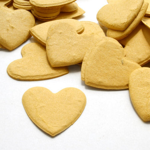 Heart Shaped Plantable Seed Confetti in Mustard Yellow, yellow wedding favors, heart shaped wedding favors, seed favors, plantable seed confetti, Eco-Friendly Favors