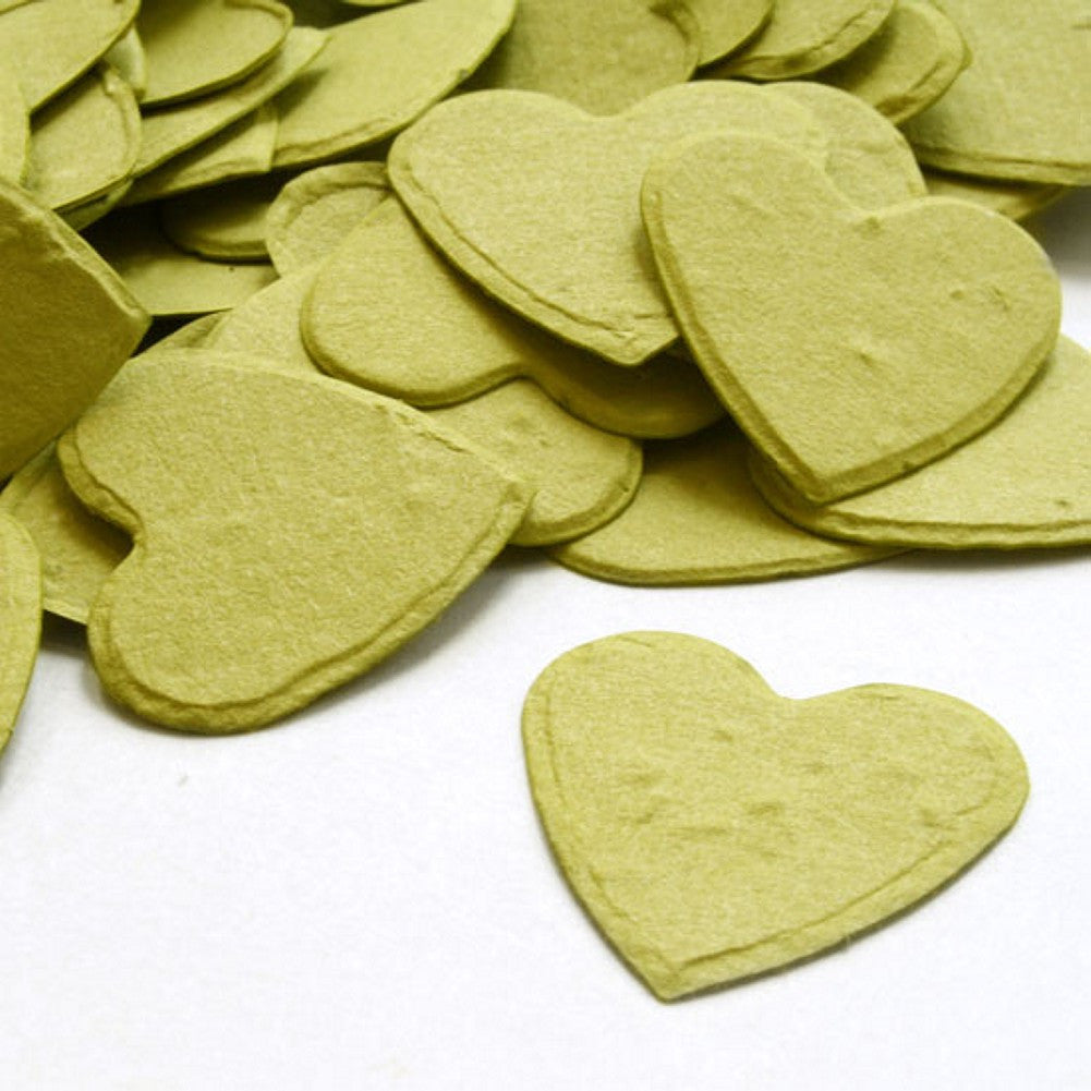 Heart Shaped Plantable Seed Confetti in Olive Green - Sophie's Favors and Gifts