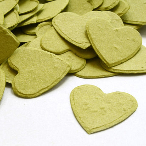 Heart Shaped Plantable Seed Confetti in Olive Green, green wedding favors, heart shaped wedding favors, seed favors, plantable seed confetti, Eco-Friendly Favors