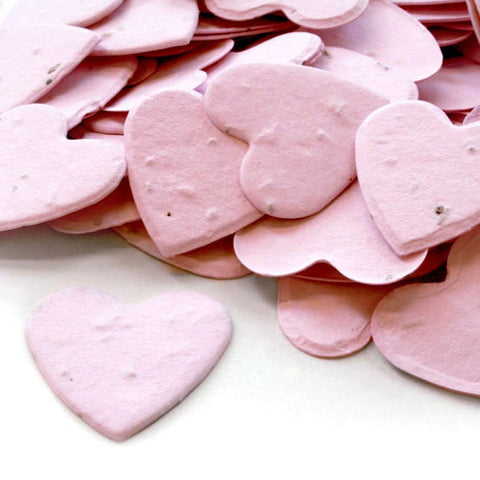 Heart Shaped Plantable Seed Confetti in Pink, pink wedding favors, heart shaped wedding favors, seed favors, plantable seed confetti, Eco-Friendly Favors