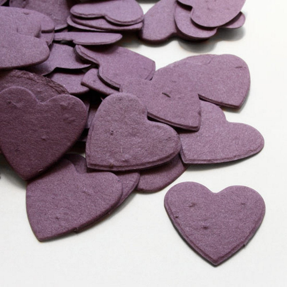 Heart Shaped Plantable Seed Confetti in Purple, purple wedding favors, heart shaped wedding favors, seed favors, plantable seed confetti, Eco-Friendly Favors