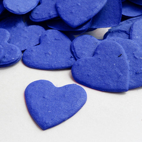 Heart Shaped Plantable Seed Confetti in Royal Blue, royal blue wedding favors, heart shaped wedding favors, seed favors, plantable seed confetti, Eco-Friendly Favors