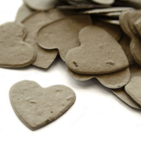 Heart Shaped Plantable Seed Confetti in Stone Grey, gray wedding favors, heart shaped wedding favors, seed favors, plantable seed confetti, Eco-Friendly Favors