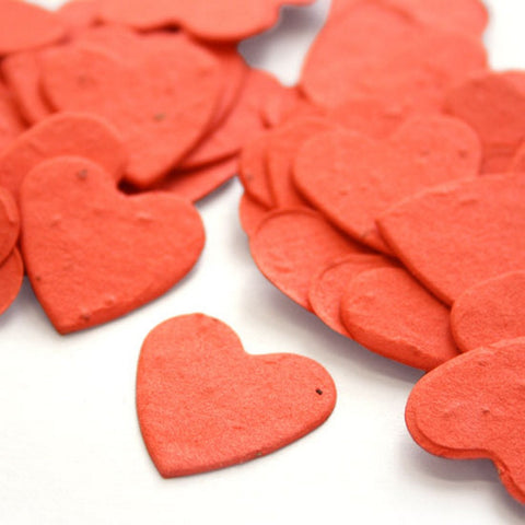 Heart Shaped Plantable Seed Confetti in Tangerine, orange wedding favors, heart shaped wedding favors, seed favors, plantable seed confetti, Eco-Friendly Favors