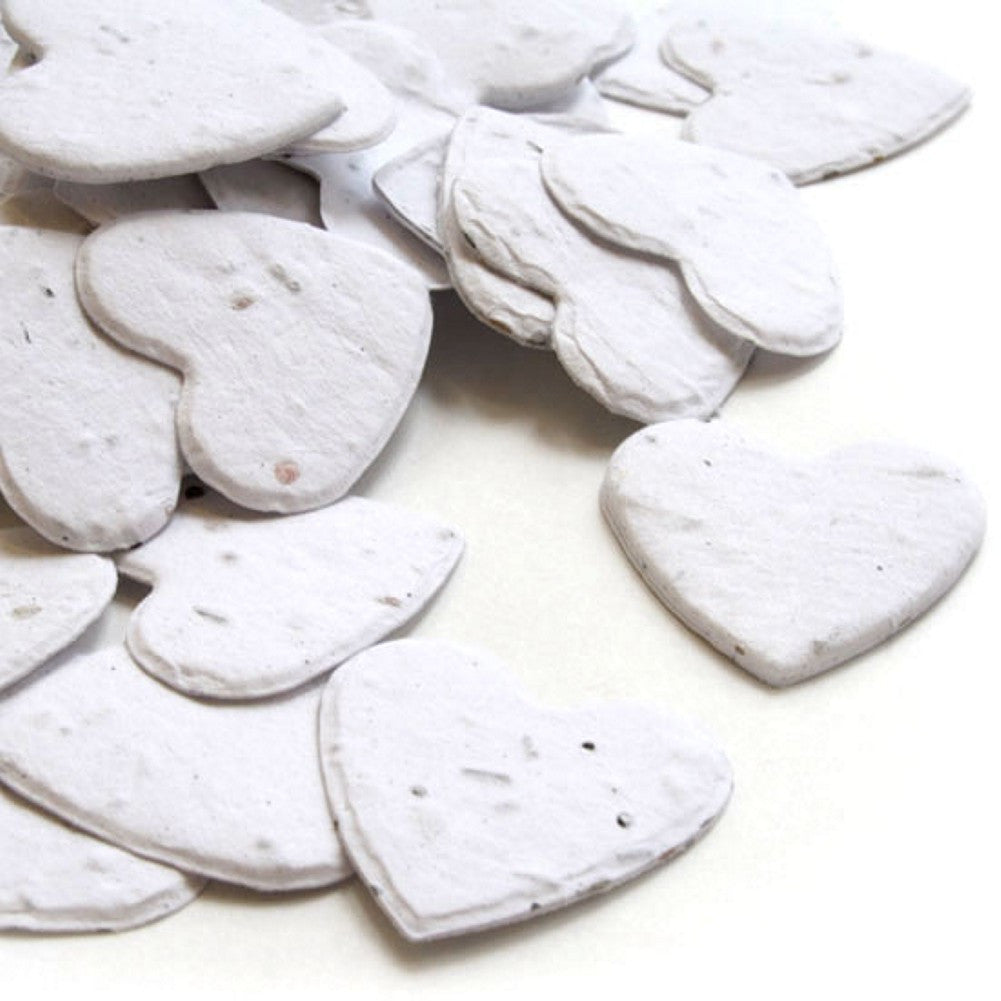 Heart Shaped Plantable Seed Confetti in White, heart wedding favors, heart shaped wedding favors, seed favors, plantable seed confetti, Eco-Friendly Favors