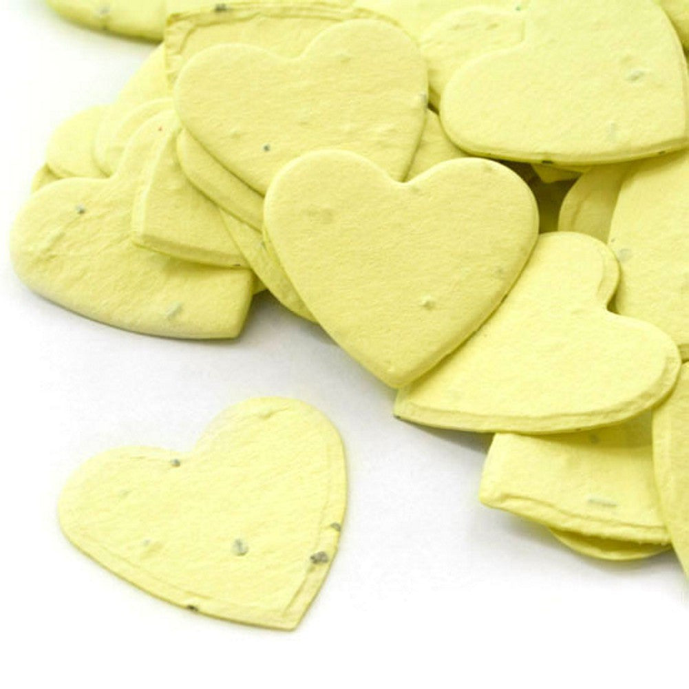 Heart Shaped Plantable Seed Confetti in Yellow, yellow wedding favors, heart shaped wedding favors, seed favors, plantable seed confetti, Eco-Friendly Favors