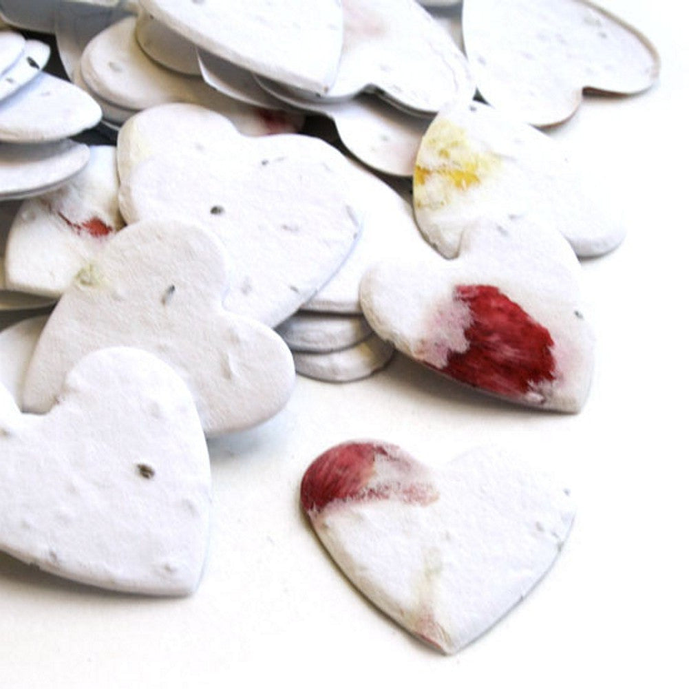 Petalled Heart Shaped Plantable Seed Confetti, memorial favors, heart shaped wedding favors, seed favors, plantable seed confetti, Eco-Friendly Favors