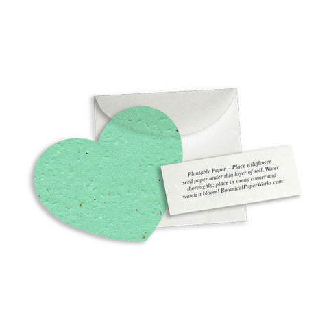 Plantable Heart Note Favor - Aqua, plantable wedding favor, heart party favor, aqua wedding favors, seed favors, Eco-Friendly Favors