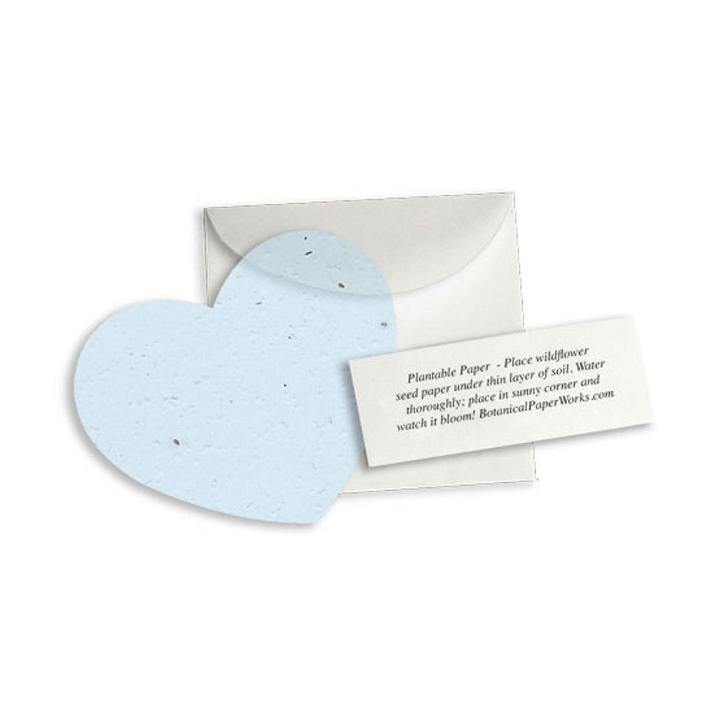 Plantable Heart Note Favor - Blue, plantable wedding favor, heart party favor, blue wedding favors, seed favors, Eco-Friendly Favors